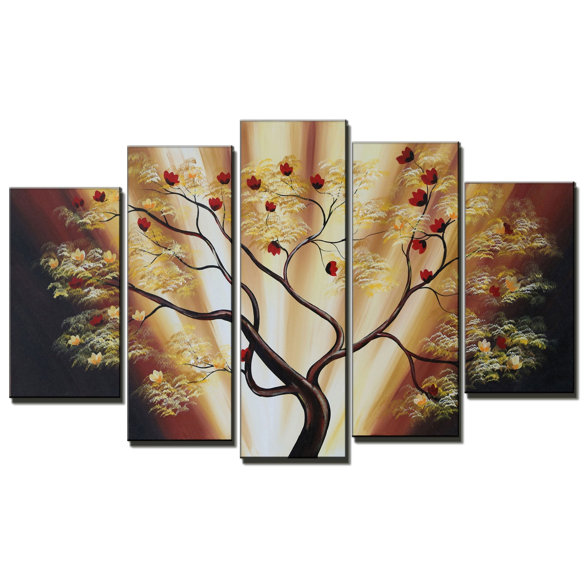 Most Recently Released Groupon Canvas Wall Art Intended For Bronze Contemporary Tree Canvas Wall Art Oil Painting (View 14 of 15)