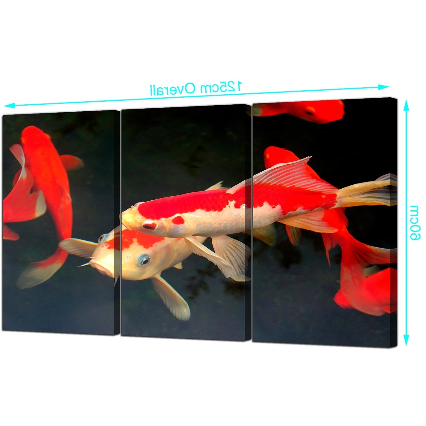 Most Recently Released Japanese Canvas Wall Art With Regard To Cheap Koi Carp Canvas Prints Uk Set Of 3 For Your Living Room (View 9 of 15)