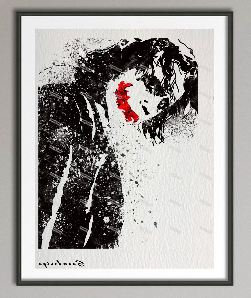 Most Recently Released Joker Canvas Wall Art Within Original Watercolor Batman Heath Ledger Joker Poster Print (View 8 of 15)