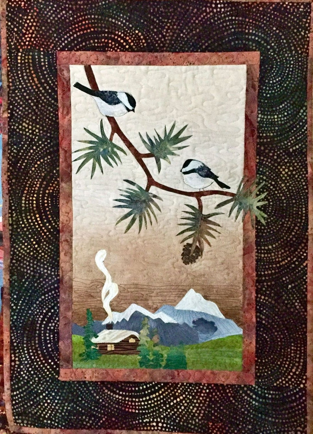 Most Recently Released Landscape Quilted Fiber Wall Hanging Chickadees, Log Cabin Intended For Fabric Applique Wall Art (View 10 of 15)