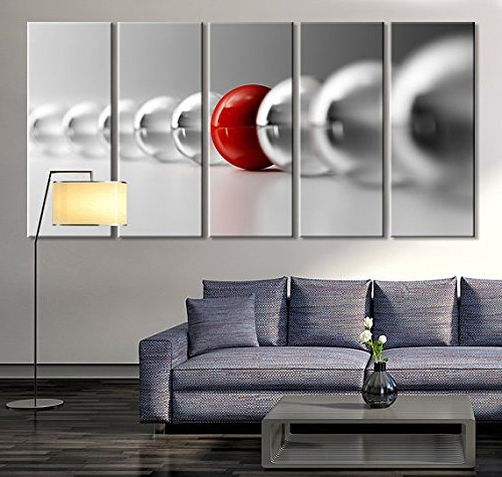 Most Recently Released Large Red Canvas Wall Art Intended For Amazon: Tanda Large Wall Art Red Ball In Gray Balls Large Wall (View 9 of 15)