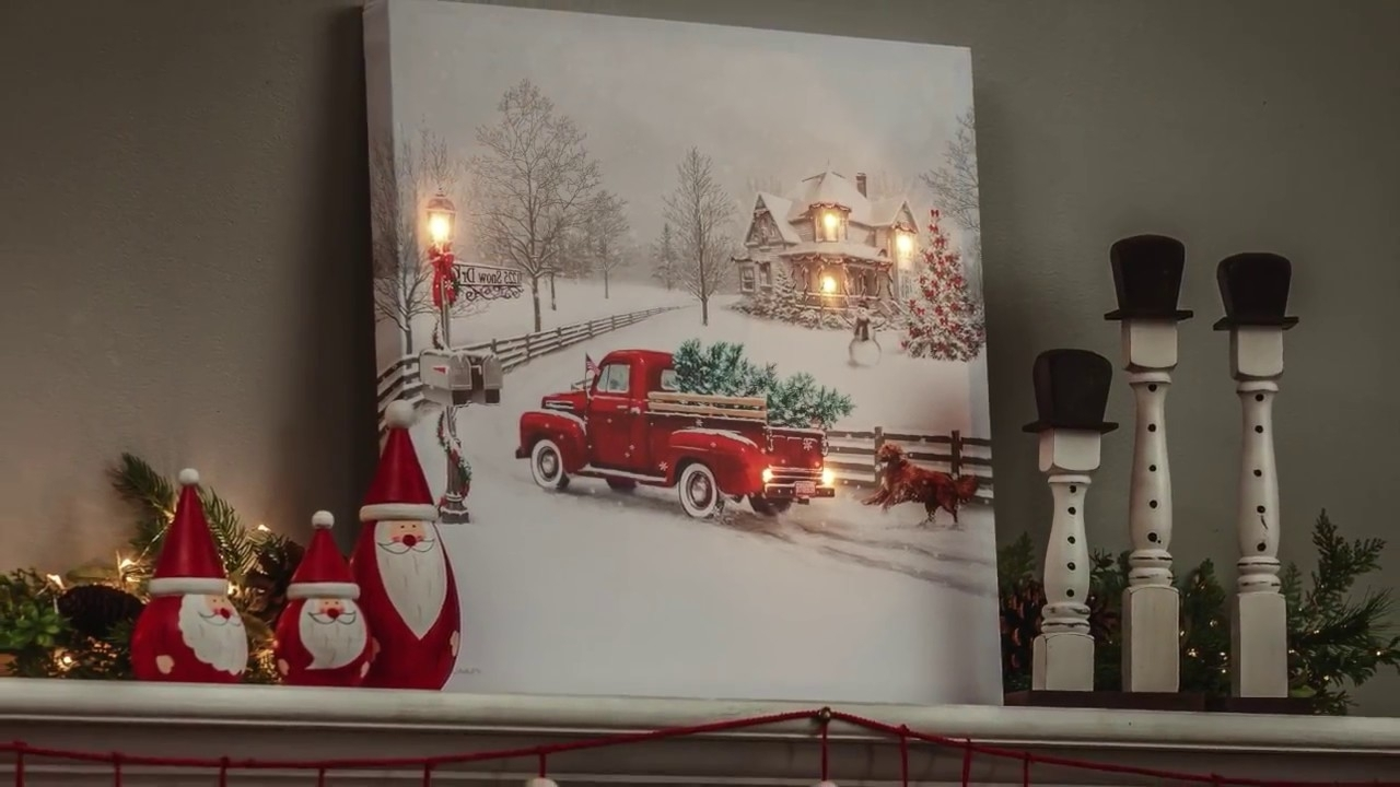 Most Recently Released Lighted Canvas Wall Art Regarding Vintage Truck Led Light Up Canvas Wall Art (6Ltc6190) – Youtube (View 9 of 15)