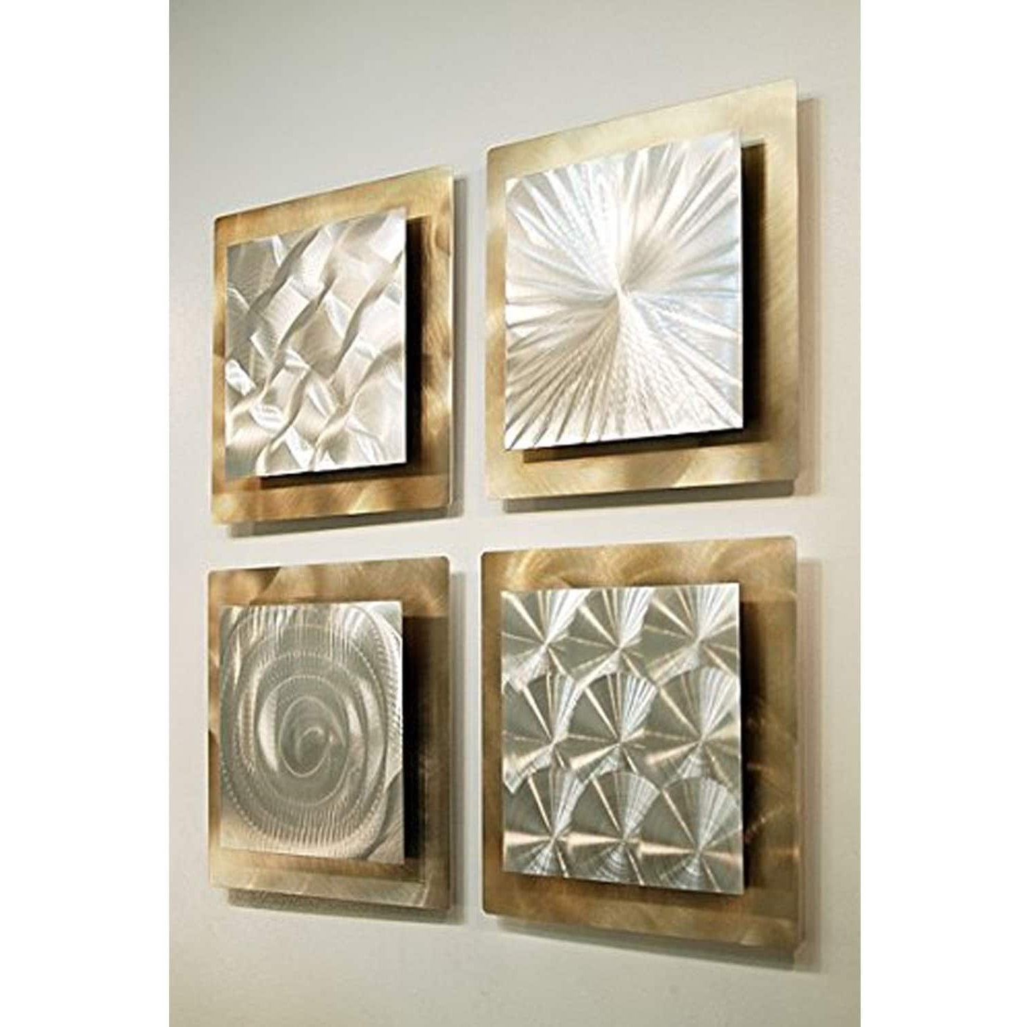 Most Recently Released Rectangular Wall Accents With Regard To Statements2000 Set Of 4 Gold / Silver Metal Wall Art Accentjon (View 13 of 15)