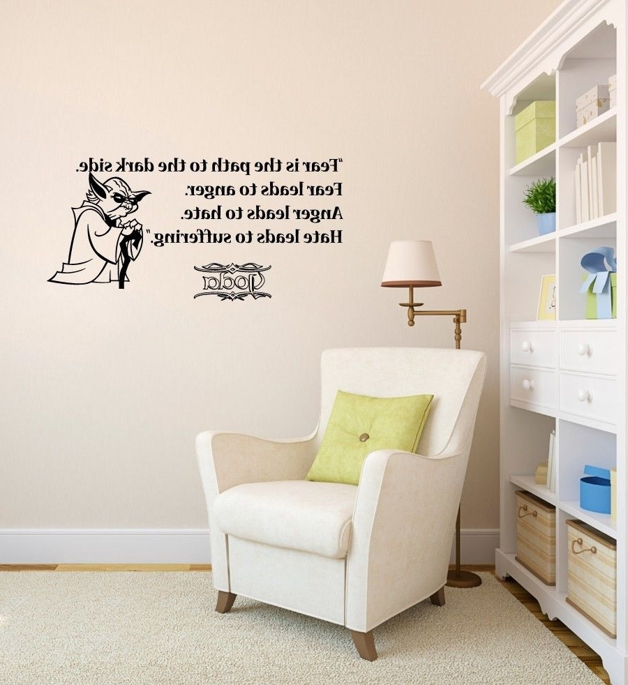 Most Recently Released Vinyl Stickers Wall Accents Throughout Wall Decals Quote Fear Path Dark Side Star Wars Vinyl Sticker (View 8 of 15)