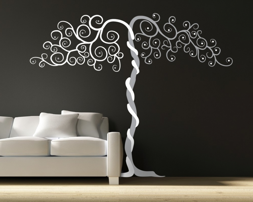 Most Recently Released Vinyl Wall Accents Inside Art Vinyl Wall Art Tree Wall Art Vinyl Large Decor Tree Forest (View 5 of 15)