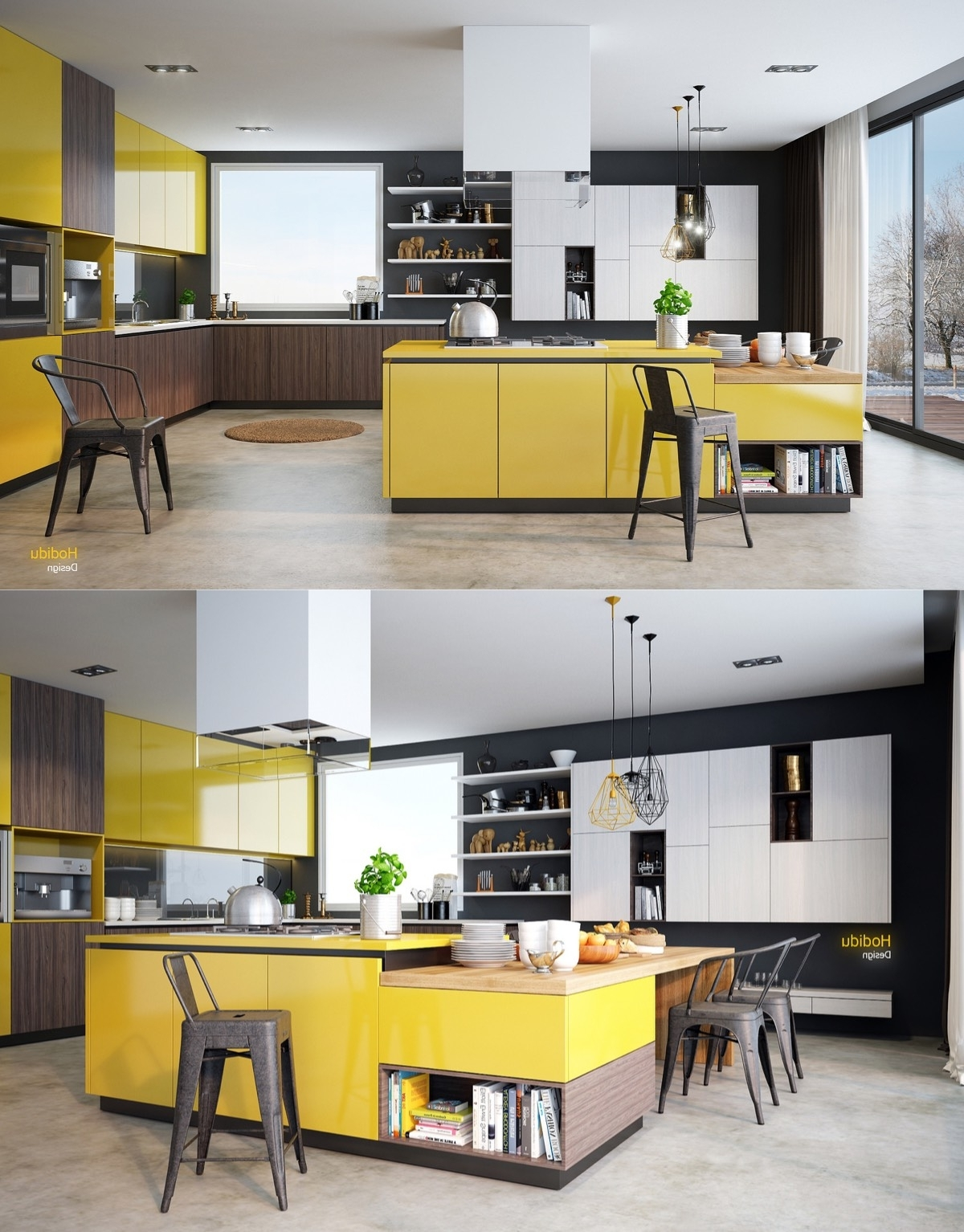 Most Recently Released Wall Accents Cabinets Pertaining To Yellow And Wood Kitchen Ideas Walls With Dark Cabinets Grey (View 5 of 15)