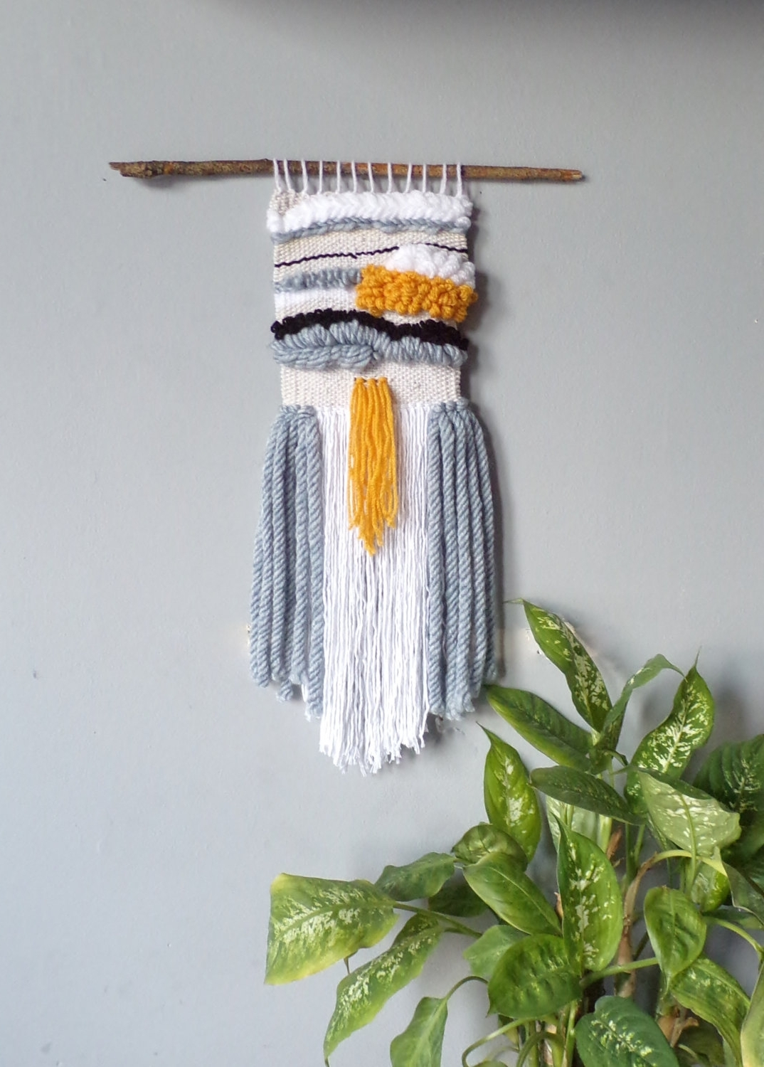 Most Recently Released Woven Textile Wall Art For Hand Woven Weaving Wall Hanging Weave Yarn Neutral Grey Yellow (View 7 of 15)