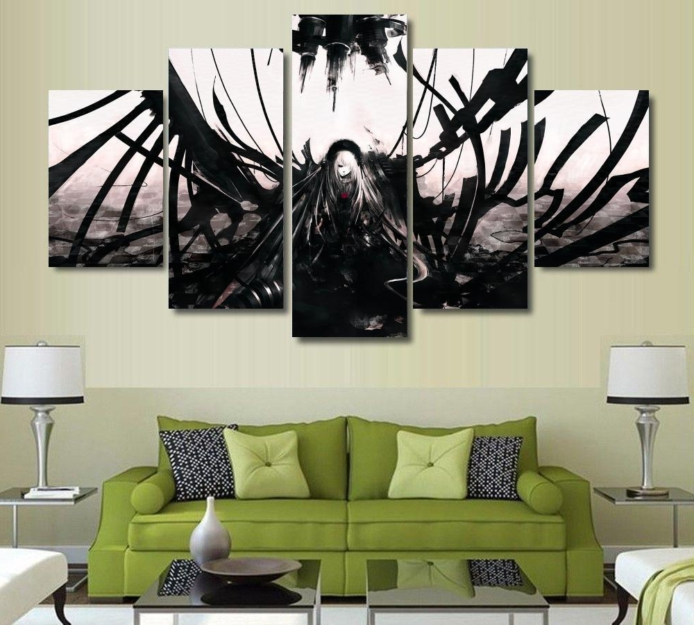 Most Up To Date Anime Canvas Wall Art Intended For 5 Panels Wall Art Anime Angel Black & White Dark 5 Pieces (View 10 of 15)