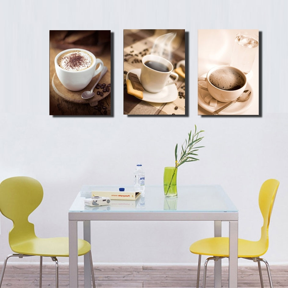 Most Up To Date Coffee Canvas Wall Art In Unframed 3 Piece Fashion Home Decoration Hot Coffee Cup Painting (View 8 of 15)