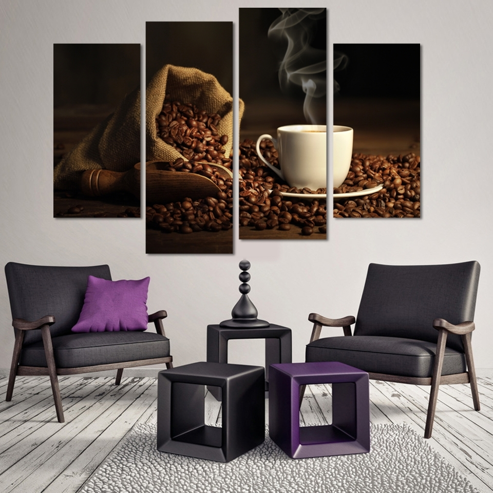 Most Up To Date Coffee Canvas Wall Art Within 4 Panels Modern Printed Coffee Canvas Art Painting Modular (View 9 of 15)