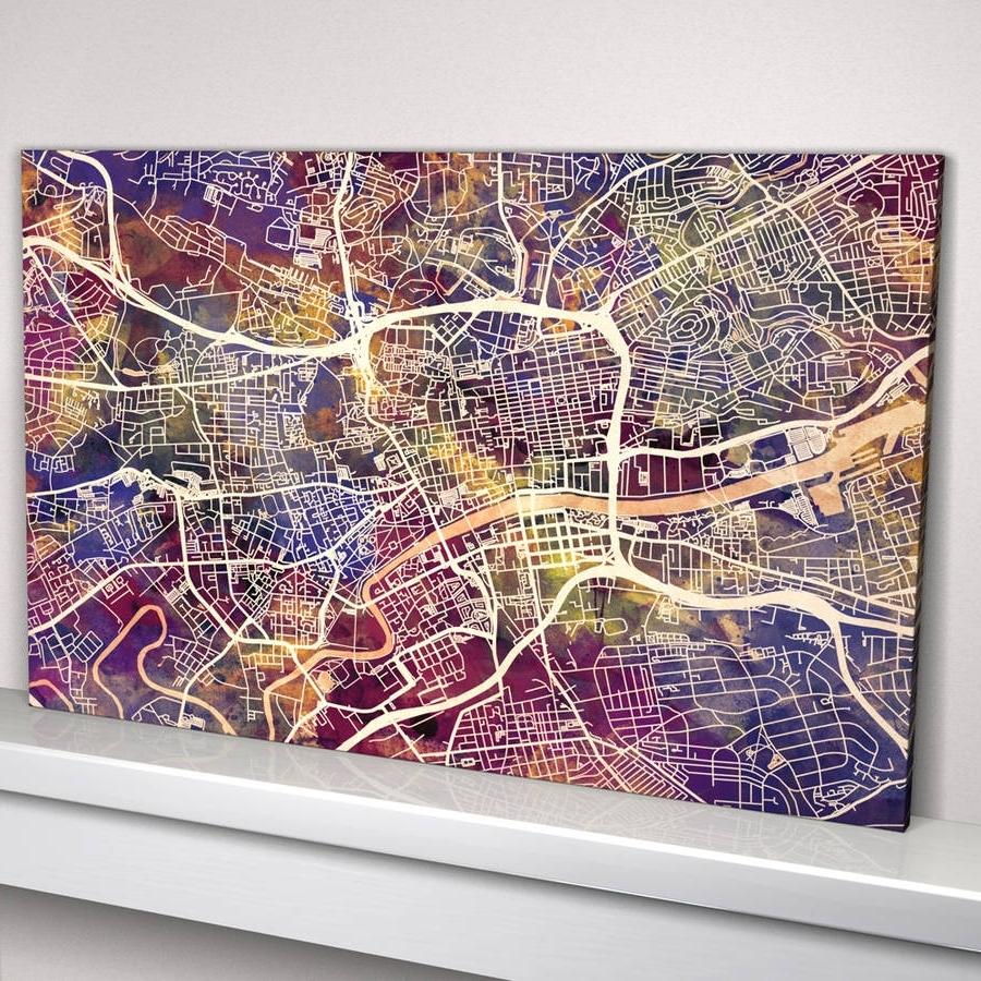 Most Up To Date Glasgow Canvas Wall Art In Glasgow Map Art Printartpause (View 8 of 15)