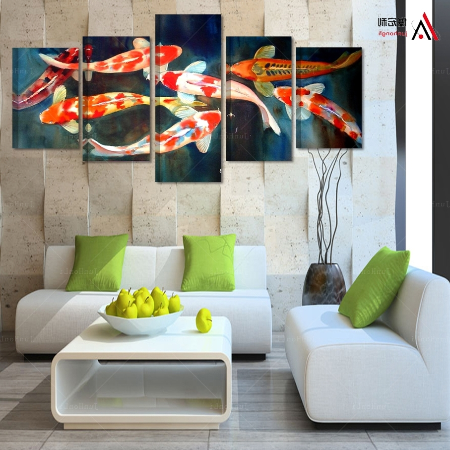 Most Up To Date Koi Canvas Wall Art With Regard To 5 Panel Canvas Prints Koi Fish Art Chinese Painting Printed Home (View 10 of 15)