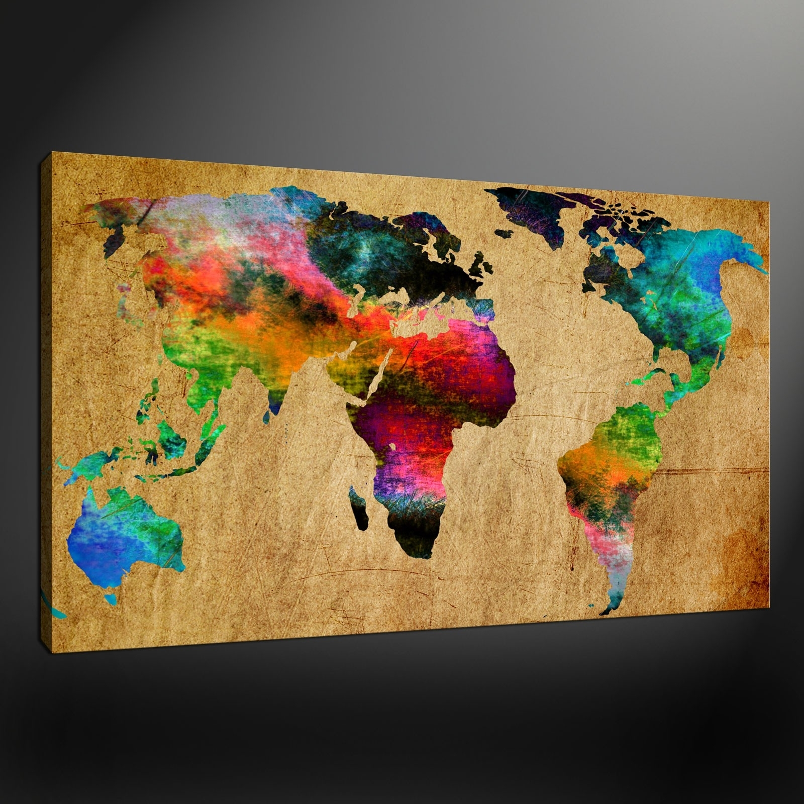 Most Up To Date Modern World Map Canvas New World Map Canvas Wall Art Picture For Maps Canvas Wall Art (View 8 of 15)