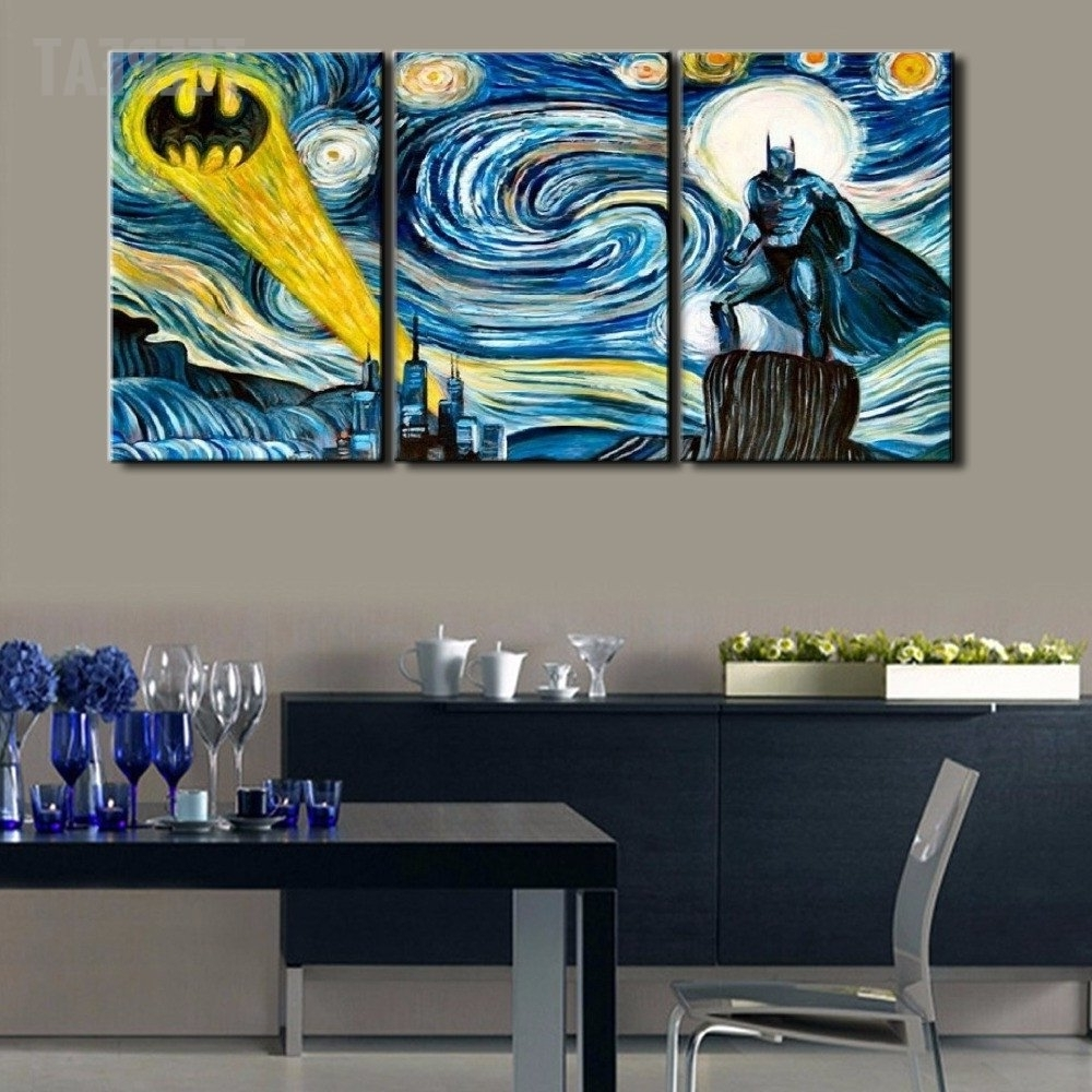 Most Up To Date Murals Canvas Wall Art With Starry Night – Batman Three Piece Canvasbatman Wall Decals Are (View 6 of 15)