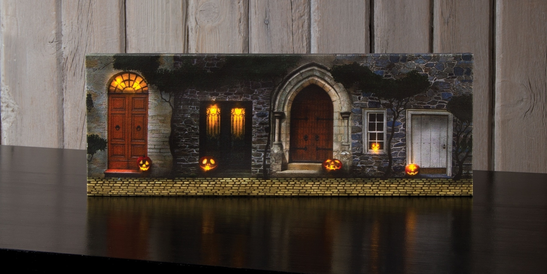 Most Up To Date Radiance Lighted Canvas Small Halloween Front Door With Jack O Inside Lighted Canvas Wall Art (View 10 of 15)