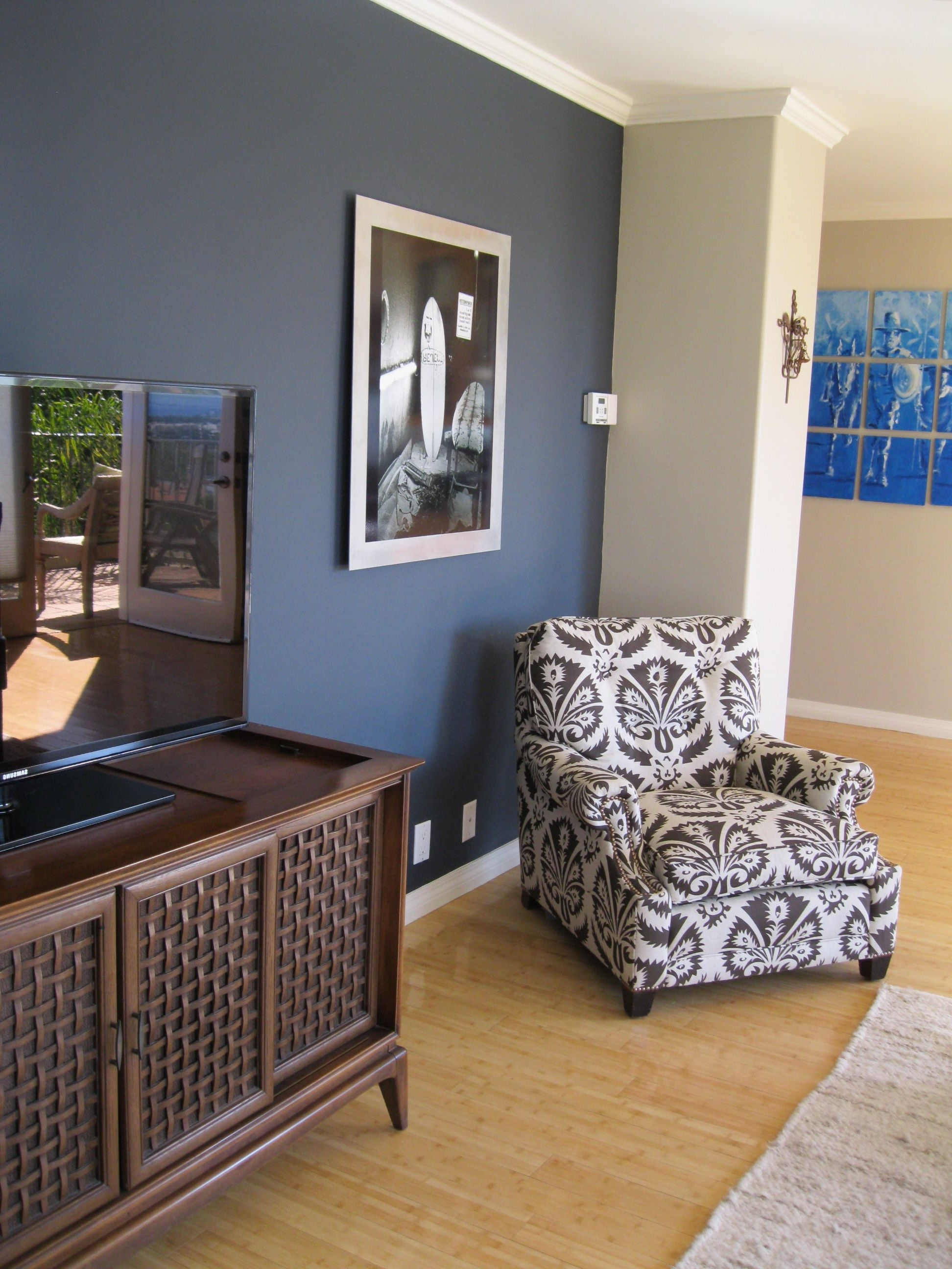 Most Up To Date Shade Of Blue On Wall Camoflauges Tv (View 2 of 15)