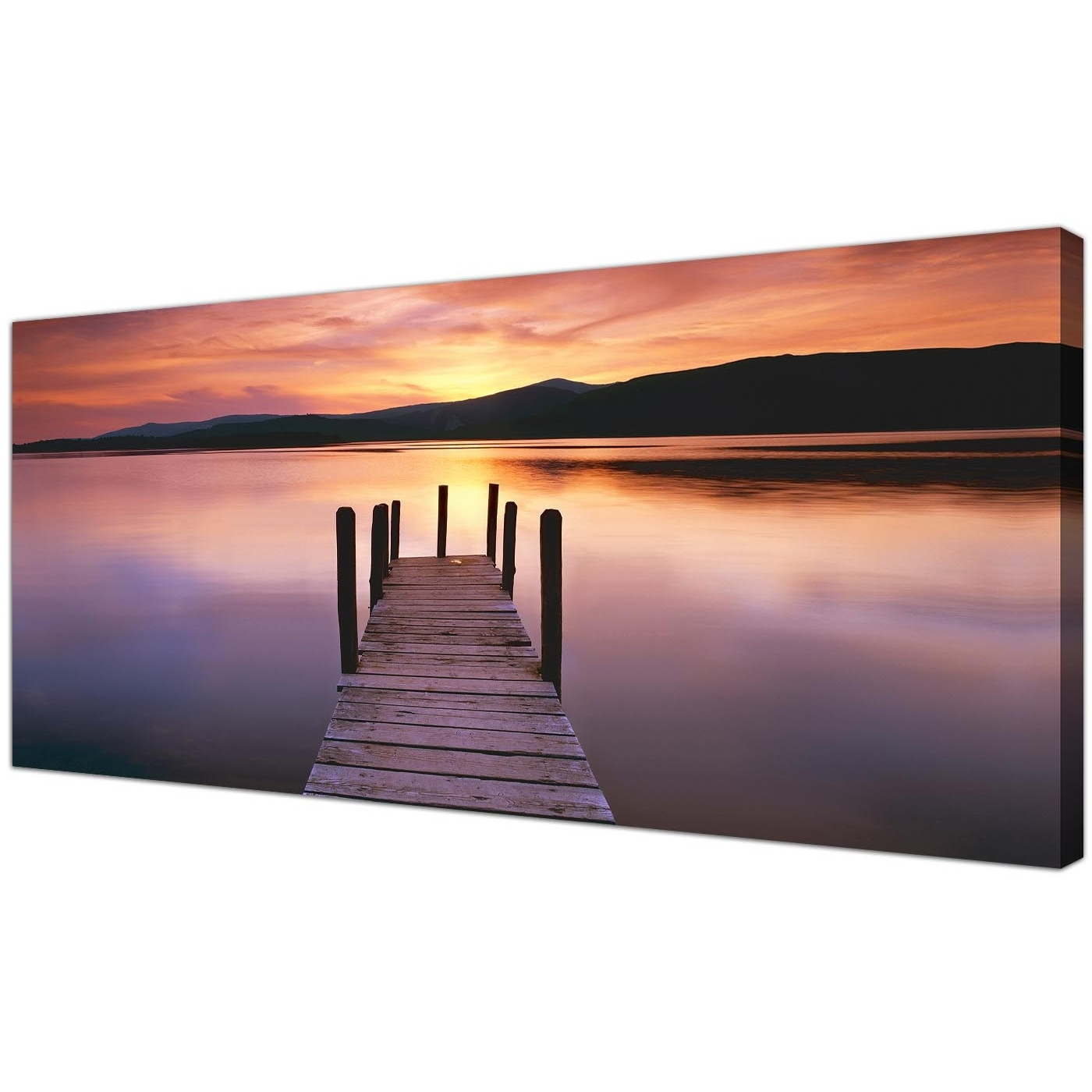 Most Up To Date Wide Canvas Wall Art Of A Lake Sunset For Your Living Room Pertaining To Panoramic Canvas Wall Art (View 6 of 15)