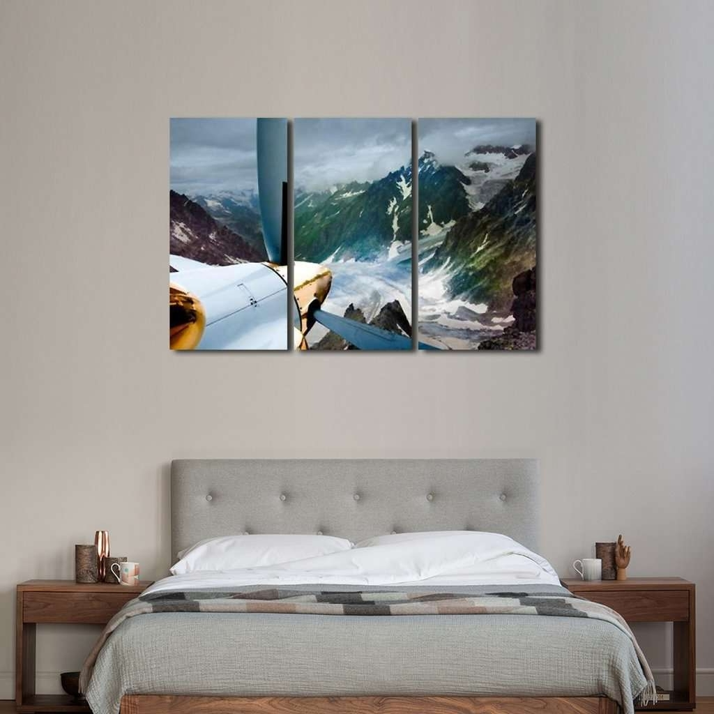 Mountains Canvas Wall Art Regarding Fashionable Flying In The Mountains Wall Art Multi Panel Canvas – Mighty Paintings (View 14 of 15)