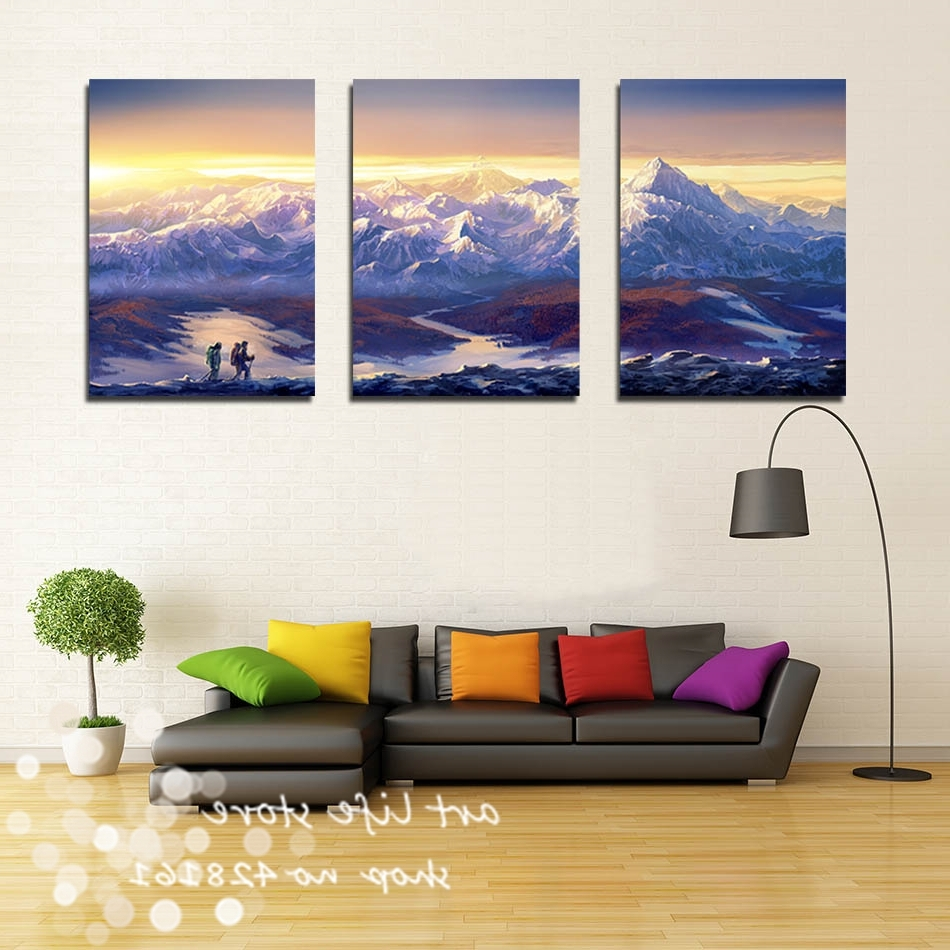Mountains Canvas Wall Art With Regard To Newest 3 Panels Wall Decoration Modern Wall Painting Beautiful Mountain (View 9 of 15)