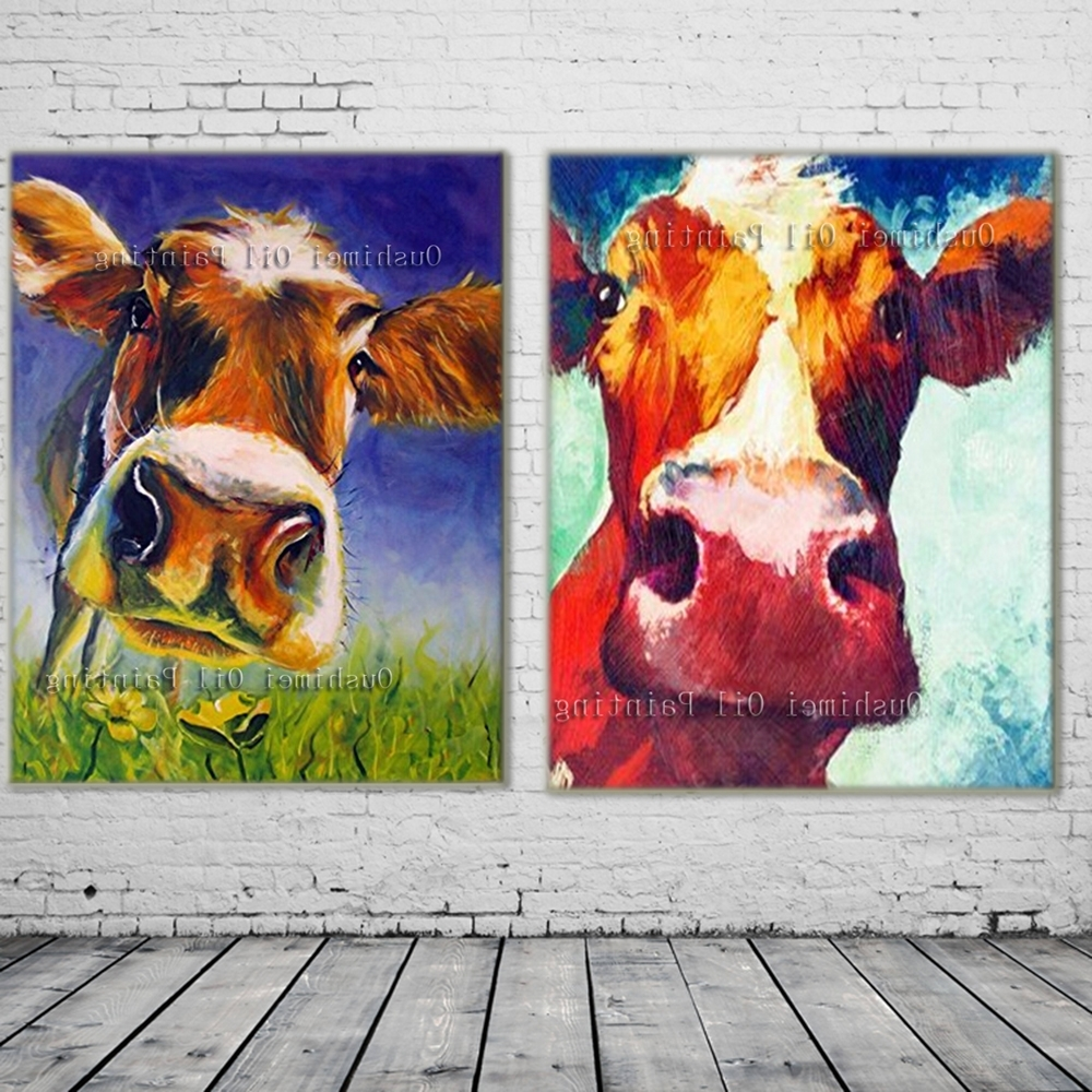 Murals Canvas Wall Art Within Well Liked New 2017 Handmade Modern Mural Picture On Canvas Wall Art Cow (View 12 of 15)