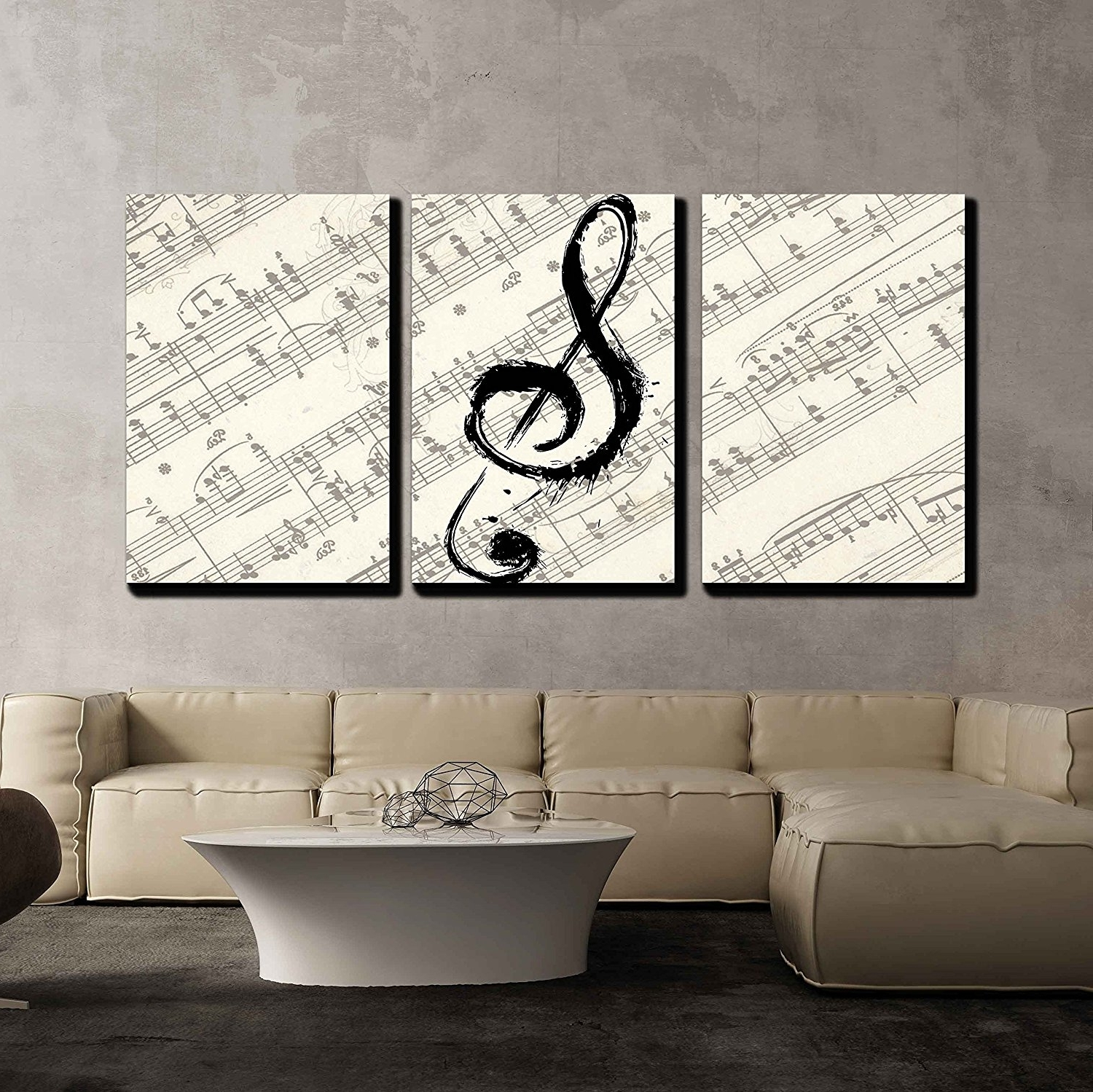 Music Canvas Wall Art With Regard To 2017 Amazon: Wall26 – 3 Piece Canvas Wall Art – Music Note On (View 9 of 15)