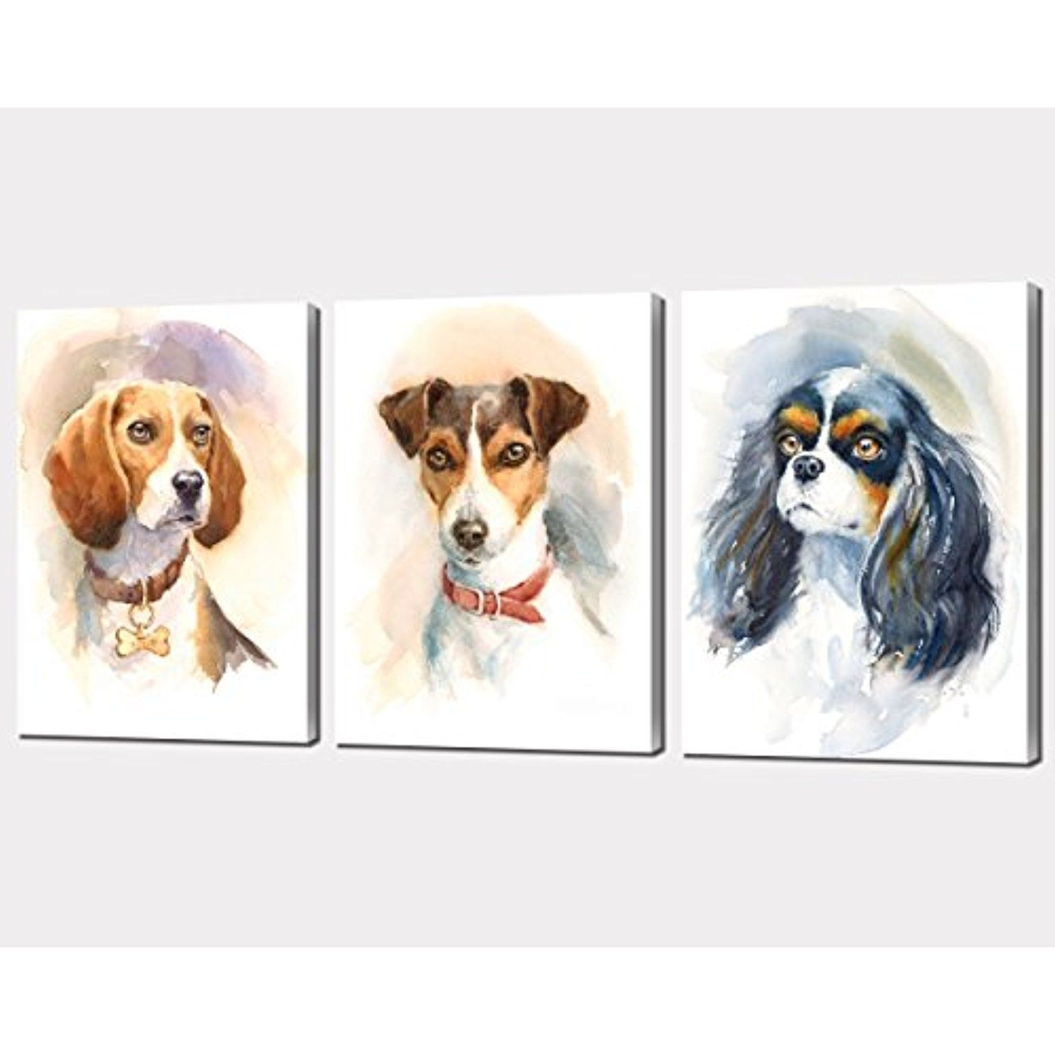 Nan Wind 3Pcs Modern Giclee Dogs Canvas Prints Cute Animals Wall Within Well Known Dogs Canvas Wall Art (Gallery 10 of 15)