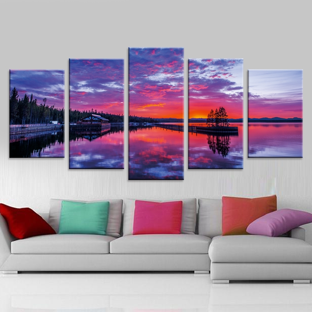 Nature Canvas Wall Art Regarding Most Current Nature Landscape Poster Sunset Wall Art Oil Painting Modular (Gallery 4 of 15)
