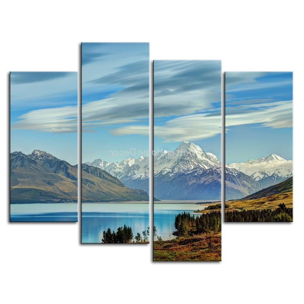 New Zealand Canvas Wall Art In Famous 3 Piece Blue Wall Art Painting South Island New Zealand Snow (View 6 of 15)