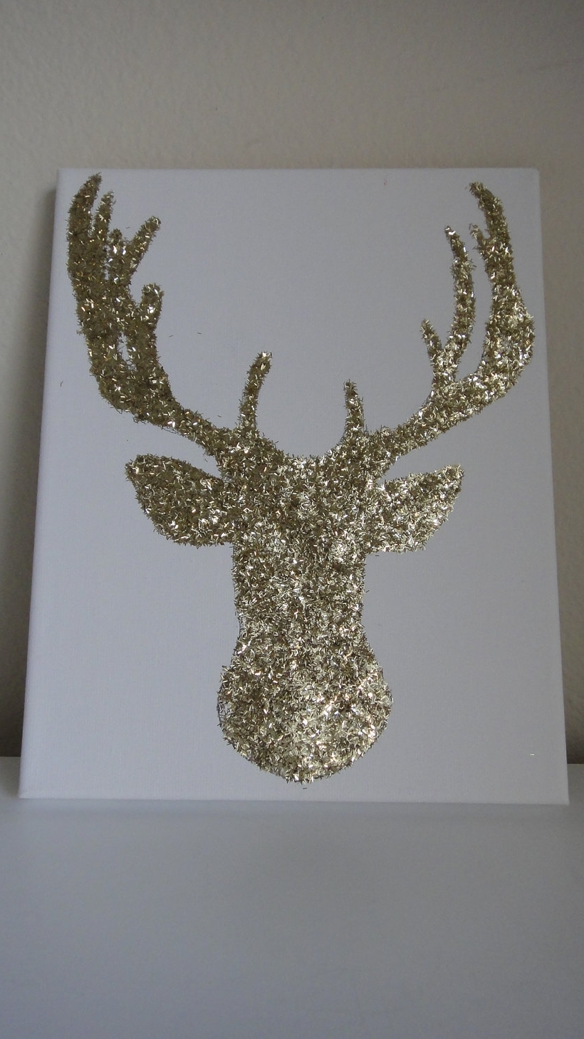 Newest 8X10 Gold Glitter Reindeer Deer Canvas Wall Art (View 13 of 15)