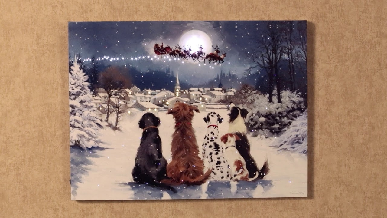 Newest Dogs Watching Santa Lighted Canvas Wall Art – Youtube In Dogs Canvas Wall Art (View 12 of 15)