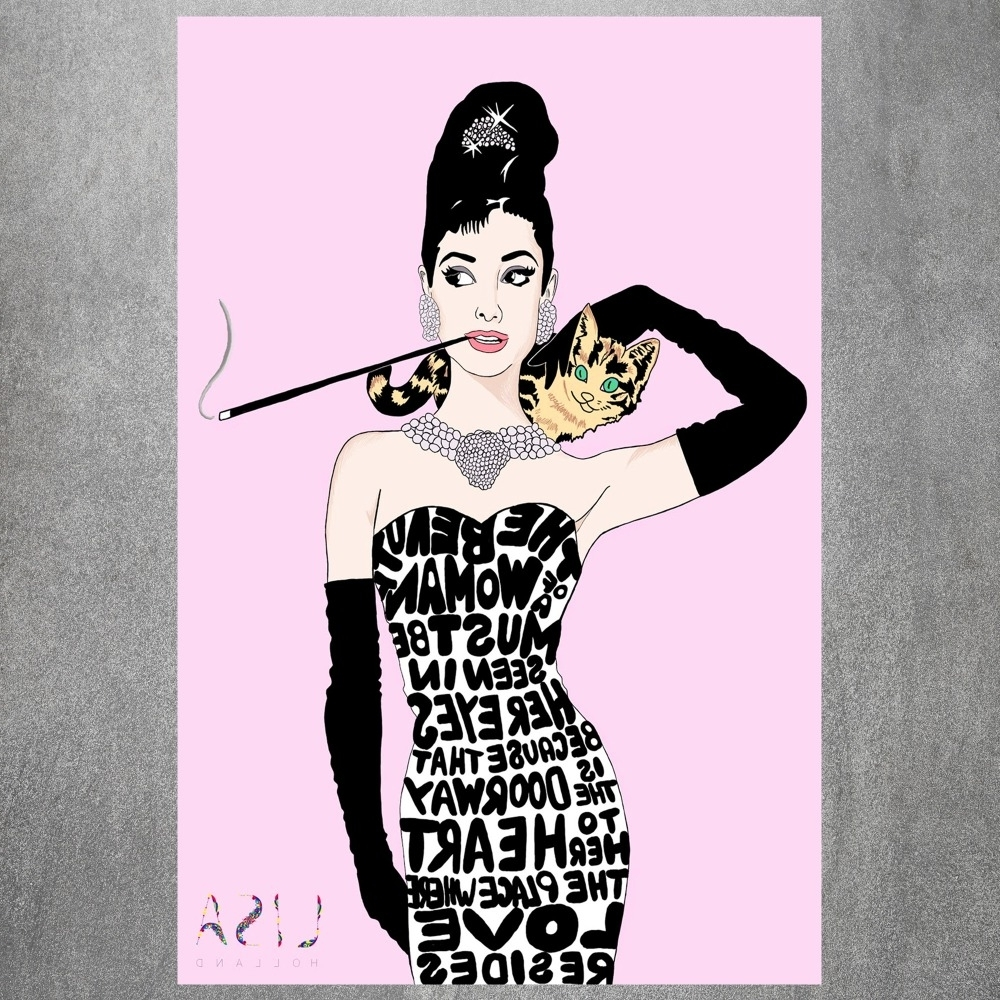 Newest Fabric Dress Wall Art Throughout Audrey Hepburn Painting Vintage Retro Posters And Prints Home (View 12 of 15)