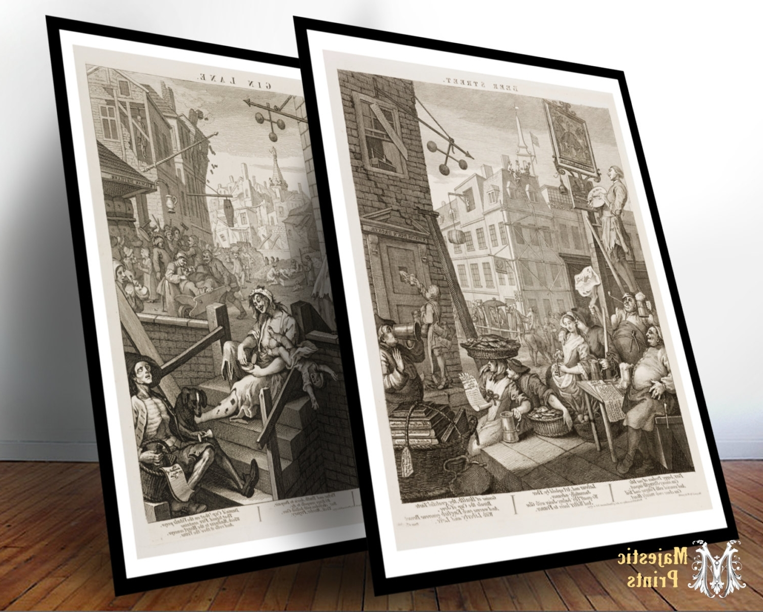 Newest Framed Beer Street And Gin Lane Antique Art Print Set – Bar Decor Within Antique Framed Art Prints (Gallery 8 of 15)