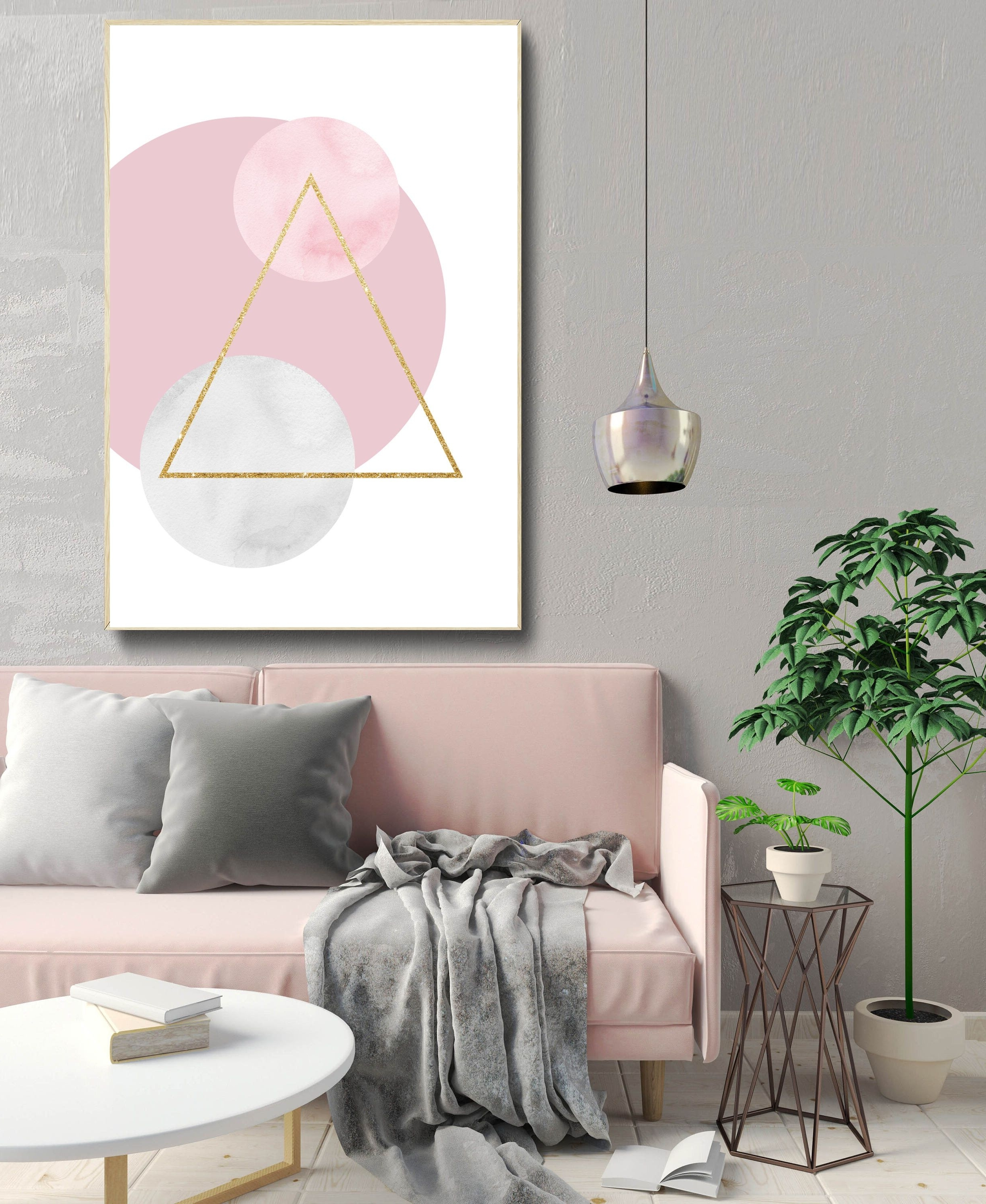 Newest Geometric Abstract Art Print, Shapes Wall Art, Nordic Design For Scandinavian Fabric Wall Art (View 5 of 15)