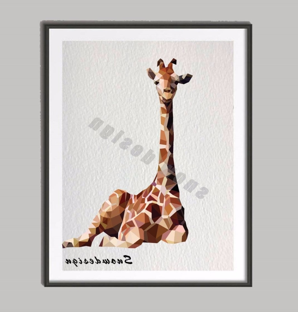 Newest Giraffe Canvas Wall Art With Low Poly Modern Geometric Giraffe Canvas Painting Wall Art Poster (View 10 of 15)