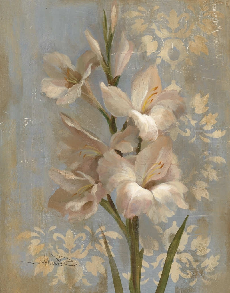 Newest Gladiola On Soft Bluesilvia Vassileva – Art Print Framed Throughout Shabby Chic Framed Art Prints (Gallery 15 of 15)