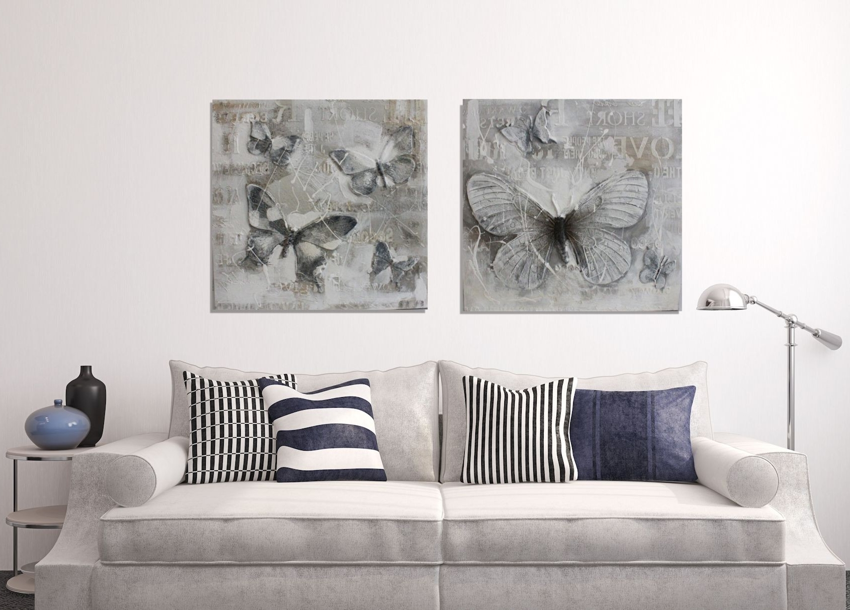 Newest Grey Canvas Wall Art Inside Three Dimsional 3D Rey Butterfly Painting Wall Canvas Eluxury Home (View 9 of 15)
