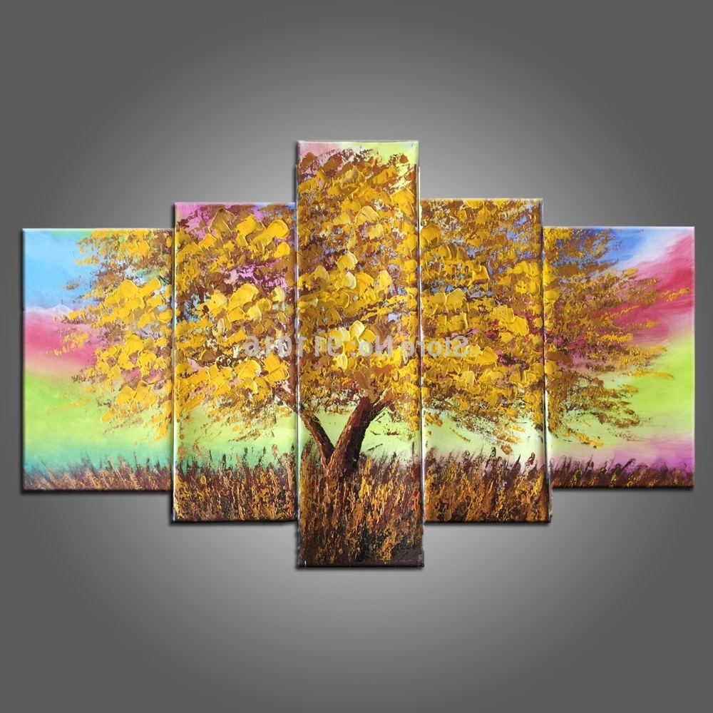 Newest Hand Painted Canvas Painting Landscape Oil Paintings Home Decor For Rainbow Canvas Wall Art (Gallery 9 of 15)