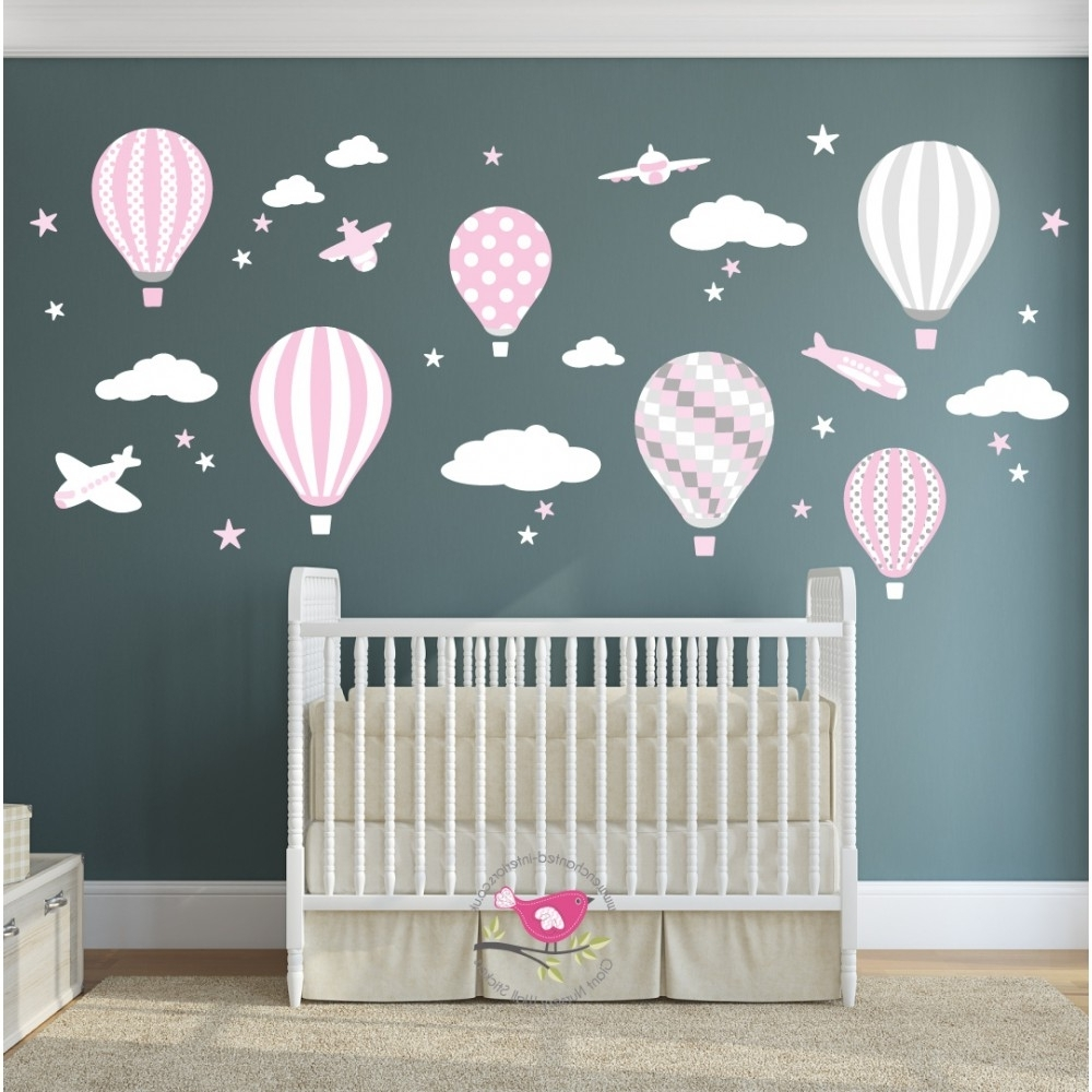 Newest Hot Air Balloon & Jets Wall Stickers Baby Pink, Grey, White Pertaining To Baby Nursery Fabric Wall Art (View 9 of 15)