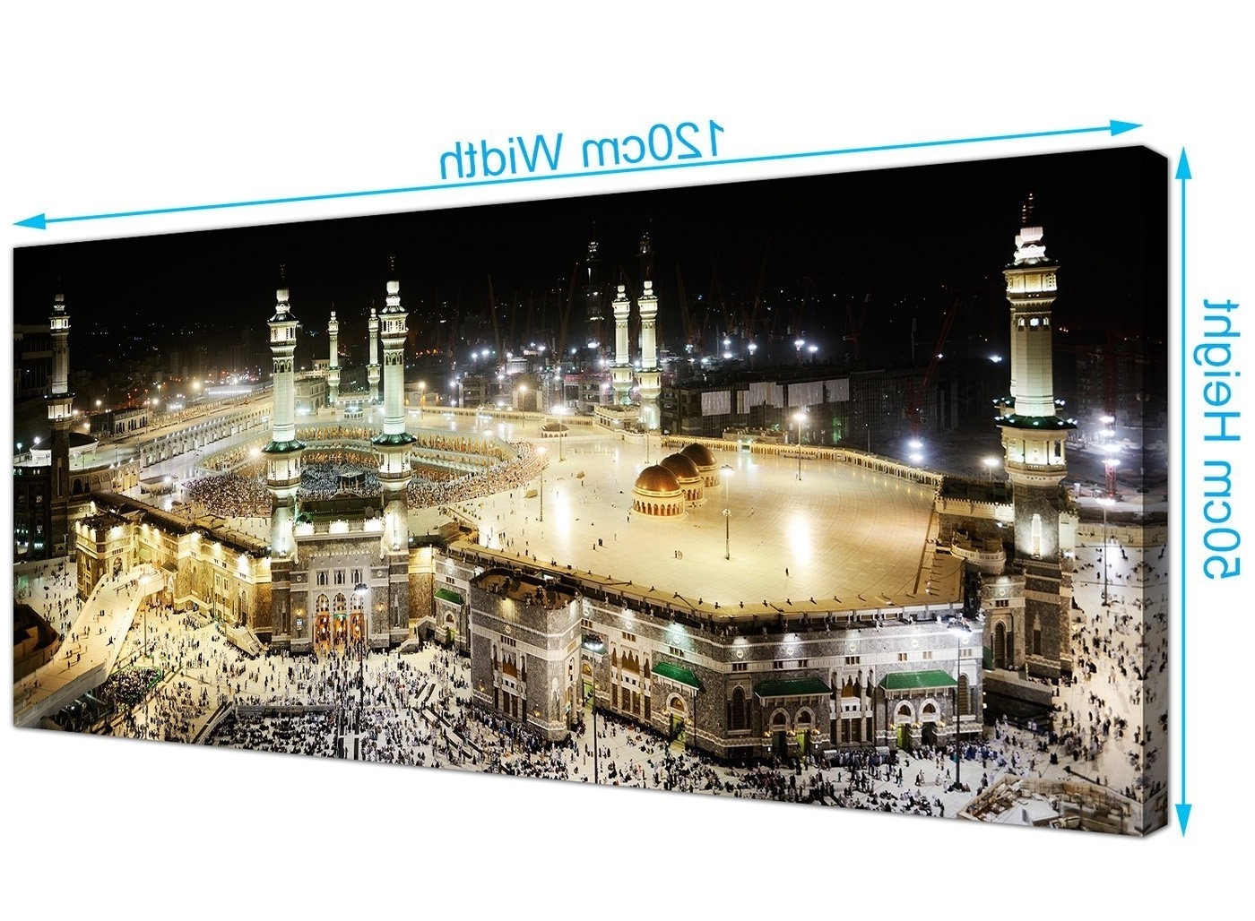 Newest Islamic Canvas Wall Art Regarding Large Islamic Canvas Wall Art Prints Of Muslim Hajj Pilgrimage To (View 7 of 15)