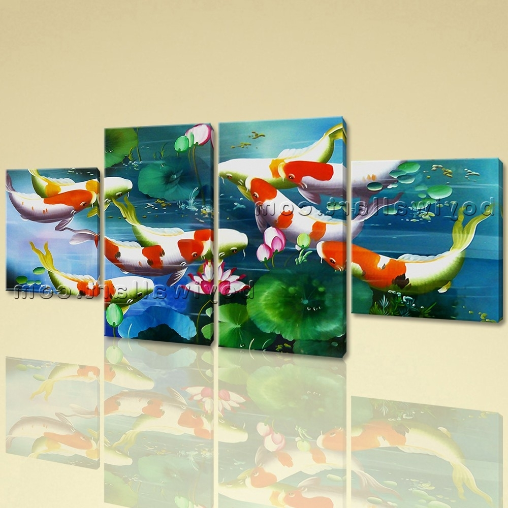 Newest Koi Canvas Wall Art Within Large Koi Fish Painting Wall Art Dining Room Tetraptych Panels (View 11 of 15)