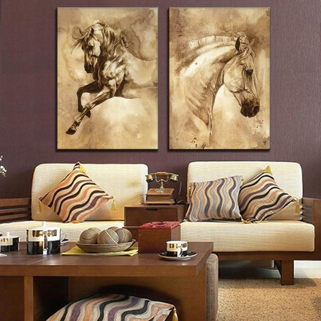 Newest Ku Canvas Wall Art With Regard To 2 Pcs/set Modern European Oil Painting Horse On Canvas Wall Art (View 11 of 15)
