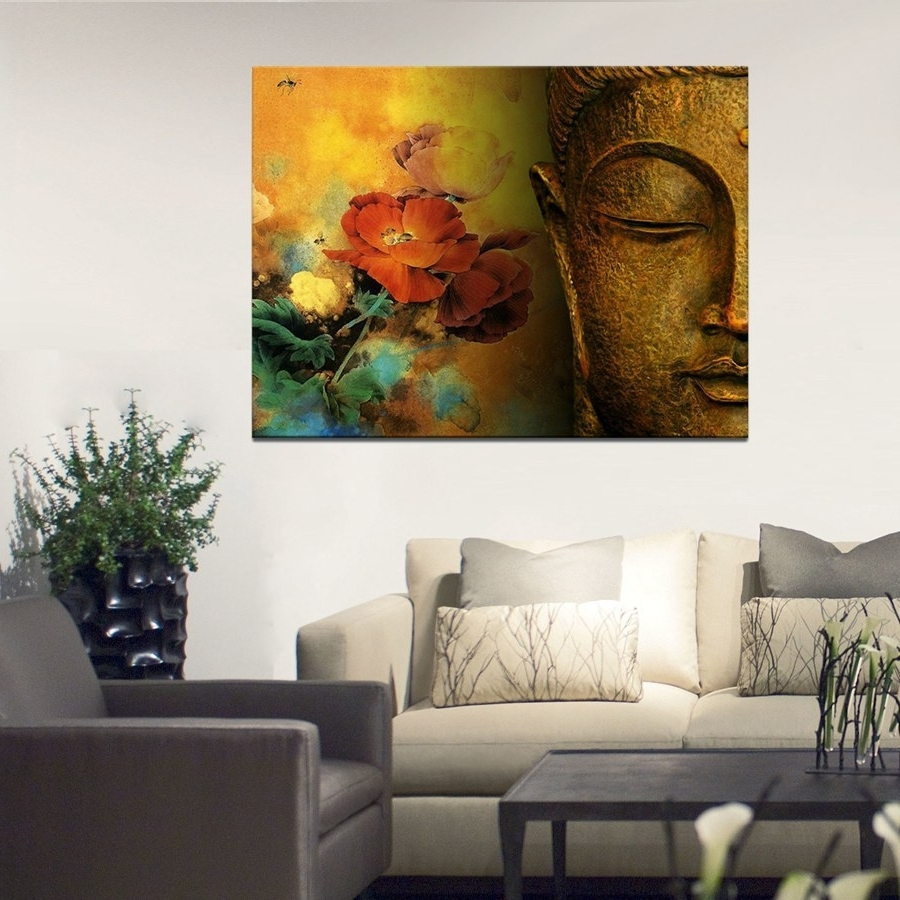 Newest Large Canvas Wall Art Regarding Large Canvas Print Buddha Well Designed With Lotus Flower Canvas (Gallery 10 of 15)
