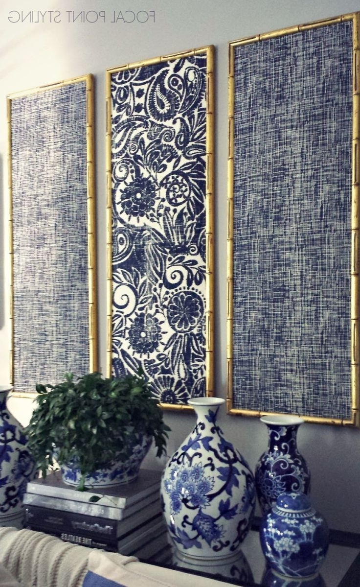 Newest Large Print Fabric Wall Art Within Gold Bamboo Frames With Navy Blue Chinoiserie Fabric! (Gallery 4 of 15)
