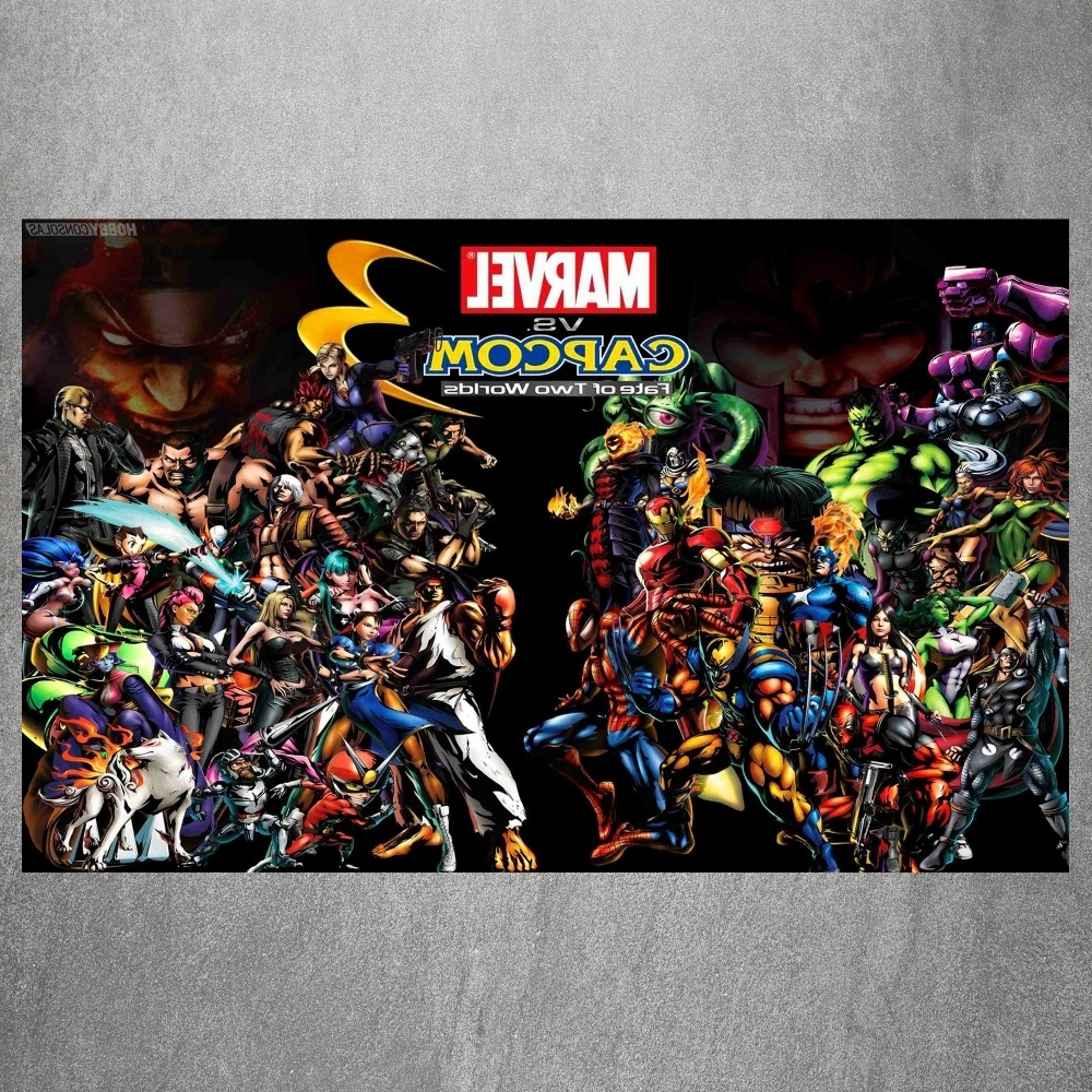 Newest Marvel Heroes Vs Capcom 3 Vintage Retro Posters And Prints Home Intended For Marvel Canvas Wall Art (View 12 of 15)