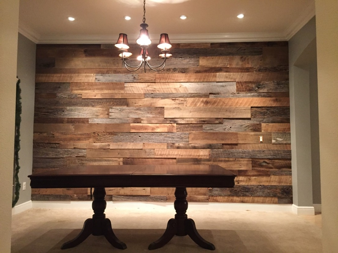 Newest The Hughes Dining Room Reclaimed Wood Accent Wall Fama Creations With Regard To Wood Wall Accents (View 10 of 15)
