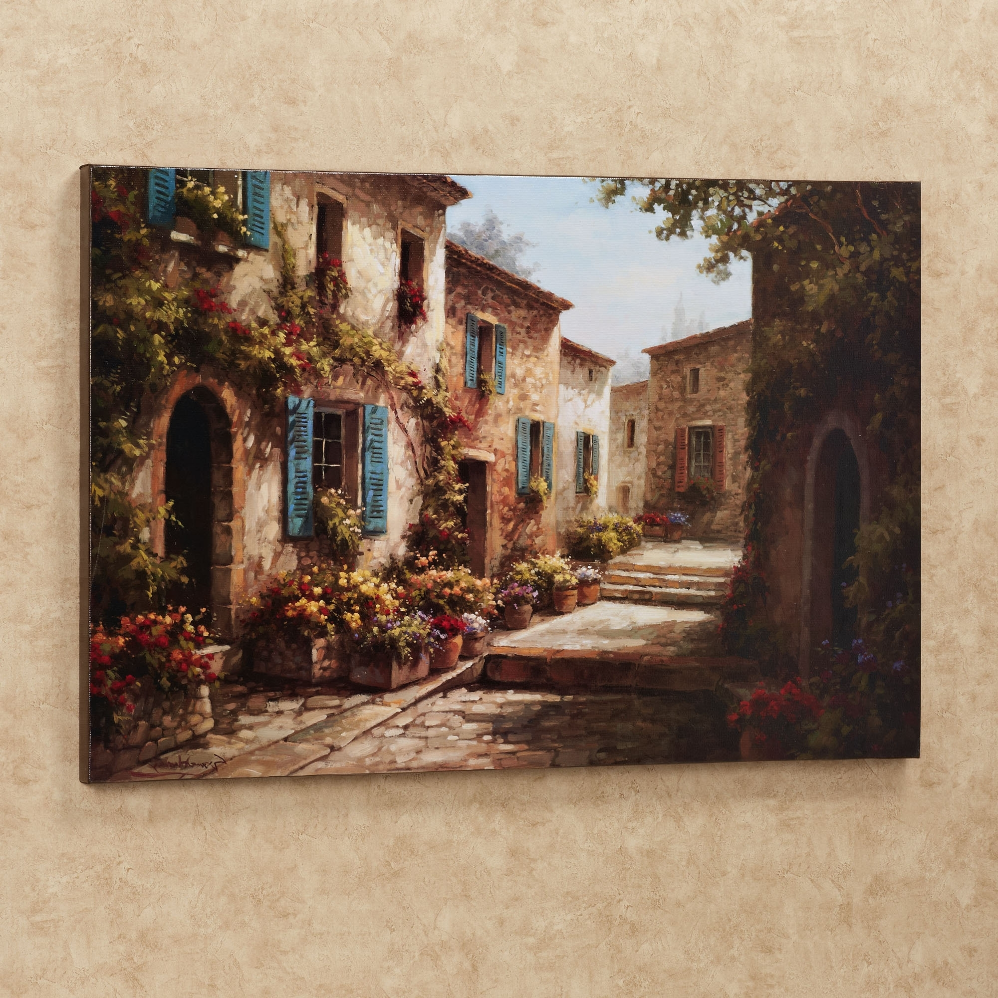 Newest Walkway Of Flowers Villas Canvas Wall Art (View 12 of 15)