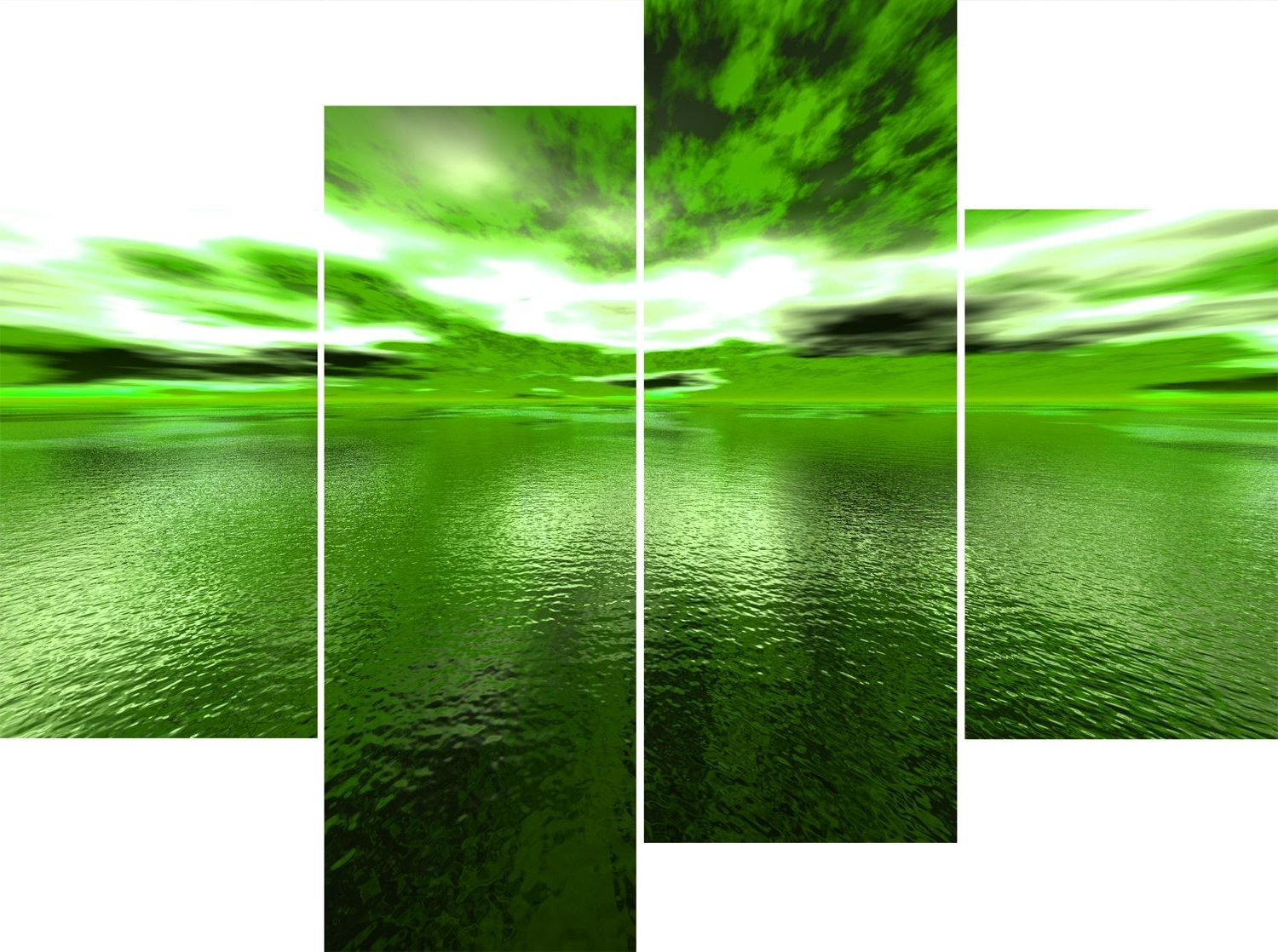 Newest Wall Art Design Ideas: Large 4 Panel Green Sea Andros Vision Within Lime Green Canvas Wall Art (View 11 of 15)