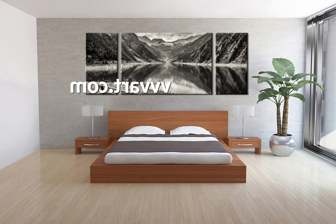 Newest Wall Art Design Ideas: Mountain Natural Bedroom Wall Art Canvas Inside Bedroom Canvas Wall Art (Gallery 5 of 15)