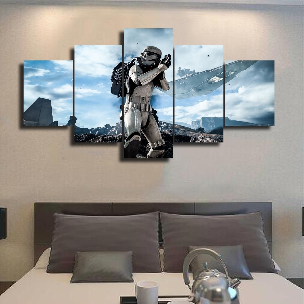 Next Canvas Wall Art For Well Liked Framed 5 Pcs Modular Home Decor Wall Art Star Wars Painting Canvas (View 5 of 15)