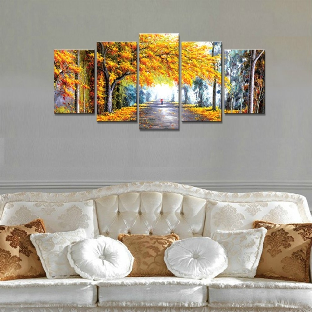 Next Canvas Wall Art Throughout Trendy Amazon: Wieco Art – Autumn Love Modern Framed Giclee Canvas (View 7 of 15)